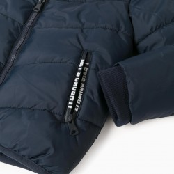 BOY'S QUILTED HOODED JACKET, DARK BLUE