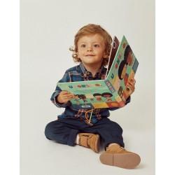 CHESS SHIRT FOR BABY BOY 'B&S', BLUE / ORANGE
