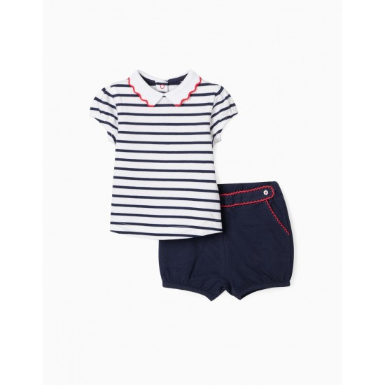 POLO AND PIQUÉ SHORTS FOR BABY GIRL, WHITE / BLUE