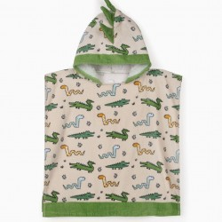 BEACH PONCHO FOR BOYS, 'WILD ANIMALS', BEIGE/GREEN