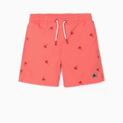EMBROIDERED BOARDSHORTS FOR BOYS, CORAL