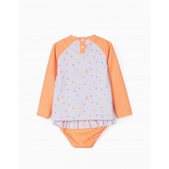 SWIM SET FOR BABY GIRLS, UV 80 PROTECTION, WHITE/ORANGE