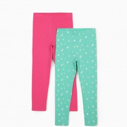 2 LEGGINGS FOR GIRLS 'HEARTS & STARS', WATER GREEN / PINK