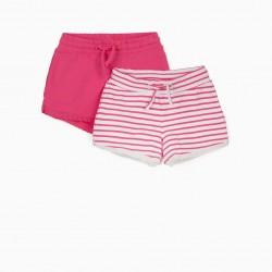2 GIRLS SHORTS, PINK / WHITE