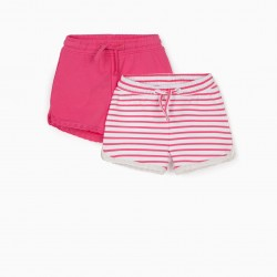 2 SHORTS FOR BABY GIRL, PINK / WHITE