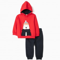 TRACKSUIT FOR BABY BOY 'BEAR', RED / DARK BLUE