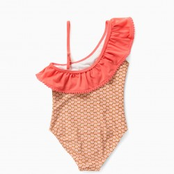 FLOWERS 80 UV PROTECTION SWIMSUIT, BROWN / PINK