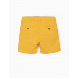TWILL SHORTS FOR BABY BOY, YELLOW
