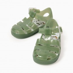 SANDALS FOR BABY BOYS, 'WILD ANIMALS', GREEN