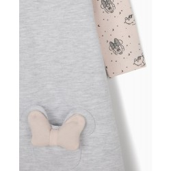 DRESS & BODYSUIT FOR NEWBORN BABY GIRLS, 'MINNIE MOUSE', GREY/PINK