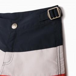 BOY'S 80S UV PROTECTION SWIM SHORTS, BLUE/WHITE/ORANGE