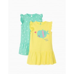 2 JERSEY DRESSES FOR BABY GIRL 'FISH', YELLOW / WATER GREEN