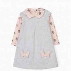 DRESS & BODYSUIT FOR NEWBORN BABY GIRLS, 'MINNIE MOUSE', GREY/PINK