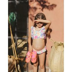 'FLOWERS' GIRL'S UV 80 PROTECTION BIKINI, WHITE