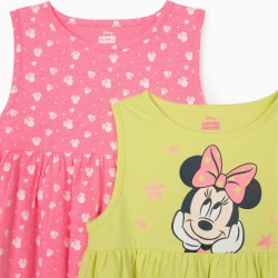 2 KNITTED DRESSES FOR GIRL 'MINNIE MOUSE', PINK / LIME YELLOW