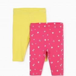 2 LEGGINGS FOR BABY GIRL 'CHERRIES', PINK / YELLOW