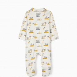 SLEEPSUIT FOR NEWBORN BABY BOYS, 'DUMBO' WHITE