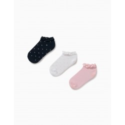3 PAIRS LACE SOCKS FOR GIRL, WHITE / BLUE / PINK