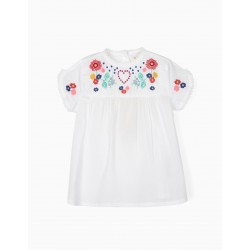BLOUSE WITH EMBROIDERY FOR GIRL, WHITE