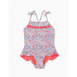 FLOWERS 80 UV PROTECTION SWIMSUIT, WHITE / CORAL