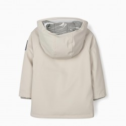 HOODED PARKA FOR BABY BOYS, 'SPACE MISSION', BEIGE