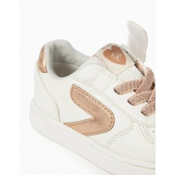'ZY GIRL' BABY SHOES, WHITE AND BRONZE
