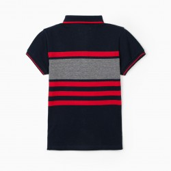 B&S STRIPED POLO FOR BOYS, BLUE / RED