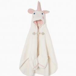 'UNICORN' GIRL BLANKET WITH HOOD AND GLOVES, WHITE