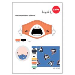 PACK OF 2 KIDS MASK, CERTIFIED (LEVEL 3), SHARK
