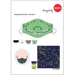 PACK OF 2 KIDS MASK, CERTIFIED (LEVEL 3), DINO