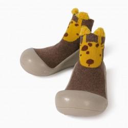 BABY SLIPPERS SOCKS 'GIRAFFE', BROWN