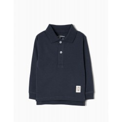 BLUE BASIC LONG SLEEVE POLO