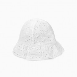 BABY GIRL HAT WITH ENGLISH EMBROIDERY, WHITE