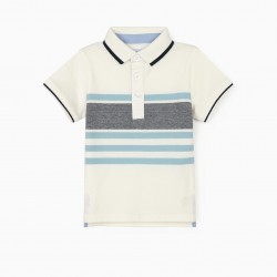 STRIPED POLO FOR BABY BOY 'B&S', WHITE / BLUE