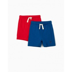 2 JERSEY SHORTS FOR BOYS, BLUE / RED