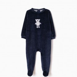 DARK BLUE TEDDY BEAR VELVET BABYGROW