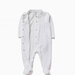 WHITE VELVET COMBINED BABYGROW