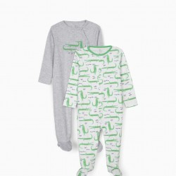 2 BABYGROWS FOR BABY BOY 'WE GO TOGETHER', GRAY / WHITE