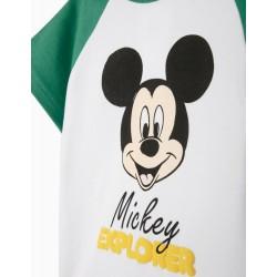 SHORT SLEEVE PAJAMAS FOR BABY BOY 'MICKEY EXPLORER', WHITE / GREEN