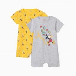 2 BABY BOY 'MICKEY MOUSE' BABYGROWS, GREY/YELLOW