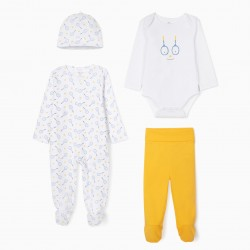 SET OF 4 PIECES FOR BABY BOY 'TENNIS', WHITE/YELLOW