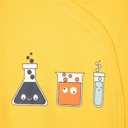 2 BABY BOY 'SCIENTIST' BABYGROWS, YELLOW/DARK BLUE