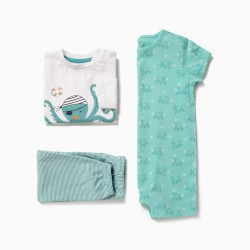 BABY BOY'S PAJAMAS AND ROMPERS 'OCTOPUS', BLUE AND WHITE