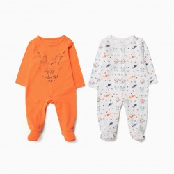 2 BABYGROWS FOR BABY BOY, ORANGE AND WHITE