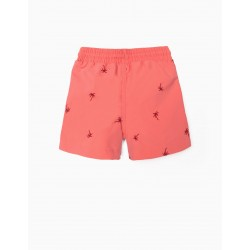 EMBROIDERED BOARDSHORTS FOR BABY BOY, CORAL