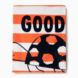 BEACH TOWEL FOR BOYS 'GOOD VIBES', WHITE AND ORANGE