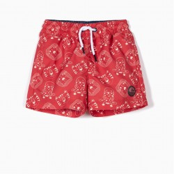 BOY PRINTED SWIMMING BOYS, RED