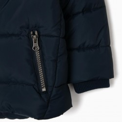 QUILTED JACKET FOR BABY BOY, DARK BLUE