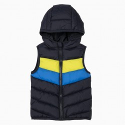 PADDED VEST WITH HOOD FOR BABY BOY, DARK BLUE