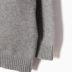 KNITTED BABY BOY COAT, GRAY